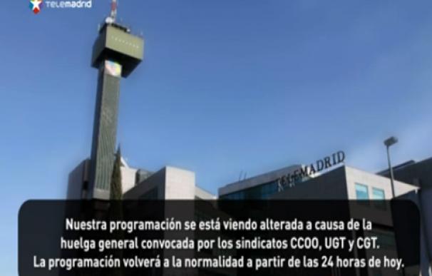 telemadrid corta sus emision huelga general
