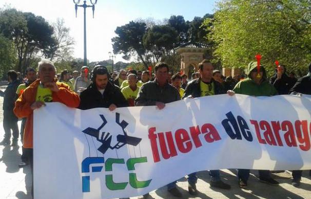 Protesta de trabajadores contra FCC
